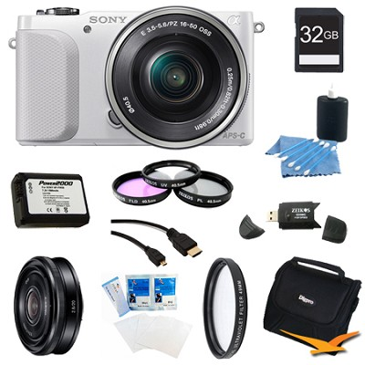 NEX-3NL White Digital Camera 16-50mm Lens 32GB 20mm f/2.8 Lens Bundle