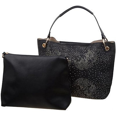 Glittery Rhinestone Handbag with Travel Tote in Black