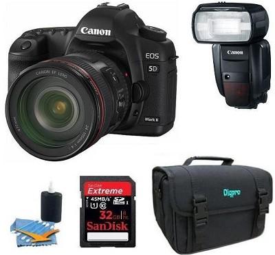 EOS 5D Mark II 21.1MP Full Frame CMOS SLR with EF 24-105mm f/4 L IS Flash Kit