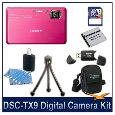 Cyber-shot DSC-TX9 Digital Camera (Red) with 16GB Card, Case, and More