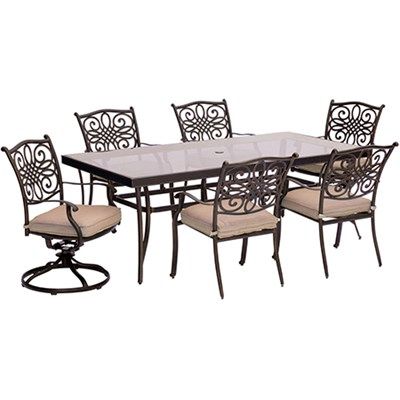 Traditions 7PC Dining Set:4 Chairs 2 Swvl Chairs and 42 x84  Glass Tbl