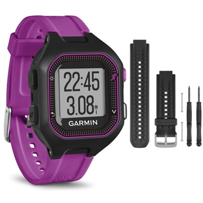 Forerunner 25 GPS Fitness Watch - Small - Black/Purple - Black Band Bundle