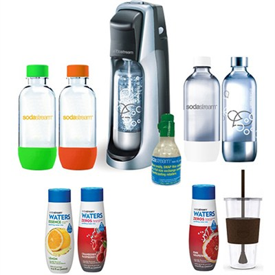 Fountain Jet Soda Maker in Black with Exclusive Kit 4 Bottles & Mini CO2