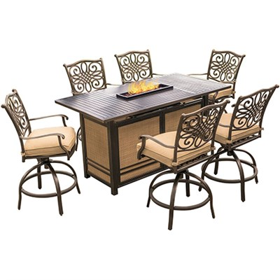 Traditions 7-Piece High-Dining Bar Set in Tan w/Fire Pit Bar Table - TRAD7PCFPBR