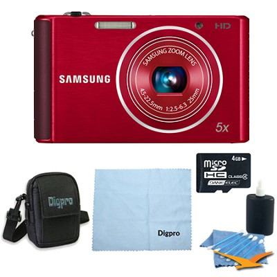 4 GB Bundle - ST76 16 MP 5X Compact Digital Camera - Red