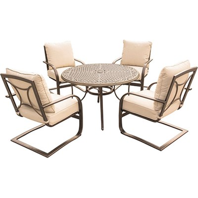 Summer Nights 5PC Dining Set: 4 Aluminum Spring Chrs with 48  Cast Table
