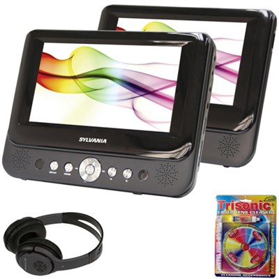 7` Dual Screen Portable DVD Player with Bluetooth Headphones Bundle