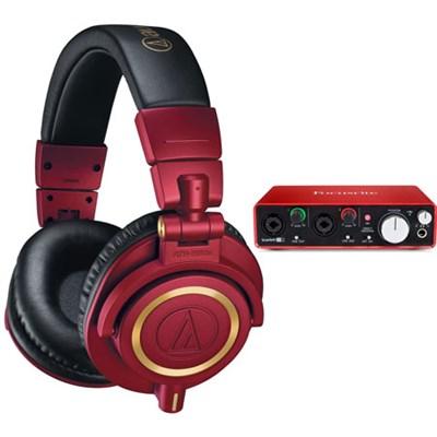 ATH-M50xRD Pro Studio Monitor Headphones (Red Limited Edition) Audio Bundle