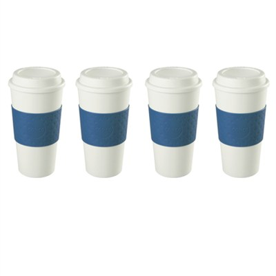 16-Ounce Capacity Acadia Reusable To Go Mug - Blue (2510-9966) 4 Pack Bundle