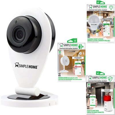 XHS7-1002-WHT WiFi Smart Siren Alarm w/ Security Camera, Motion Sensor, LED Bulb