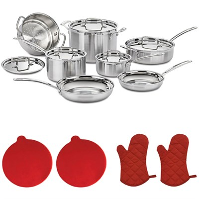 Multiclad Pro Tri-Ply 12 pc. Cookware Set w/2 Silicon Trivets & 2 Oven Mitts