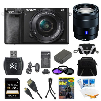 Alpha a6000 Black Interchangeable Lens Camera, 16-50mm, and 16-70mm Lens Bundle