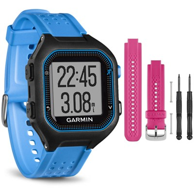 Forerunner 25 GPS Fitness Watch - Large - Black/Blue - Pink Band Bundle