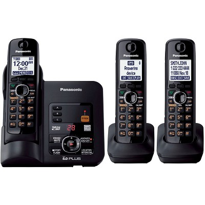 KX-TG6633B DECT 6.0 Cordless Phone with Answering System, Black, 3 Handsets