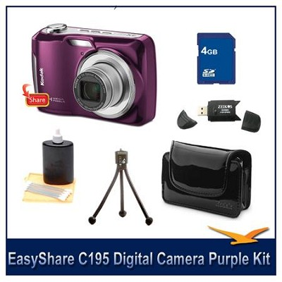 EasyShare C195 14MegaPixel Camera Bundle w/ 4GB SD Card, Case, Tripod & More