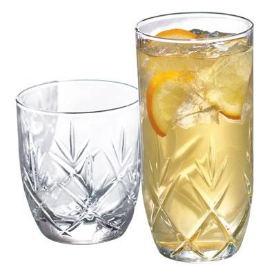 Fleur Small and Large Drinking Glasses, 16-Piece