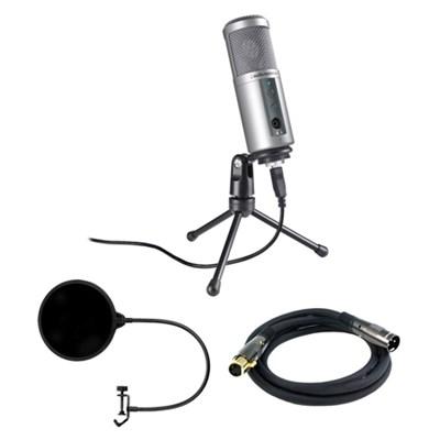 Cardioid Dynamic USB Microphone - ATR2500-USB w/ Microphone Wind Screen Bundle