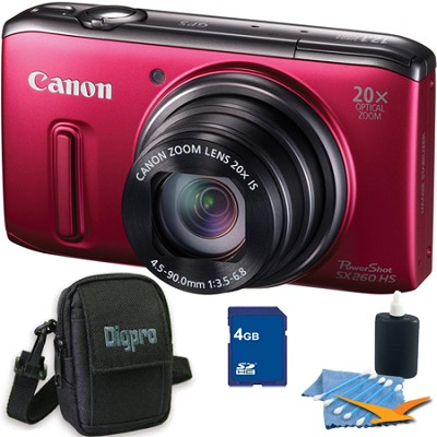 PowerShot SX260 HS Red Digital Camera 4GB Bundle