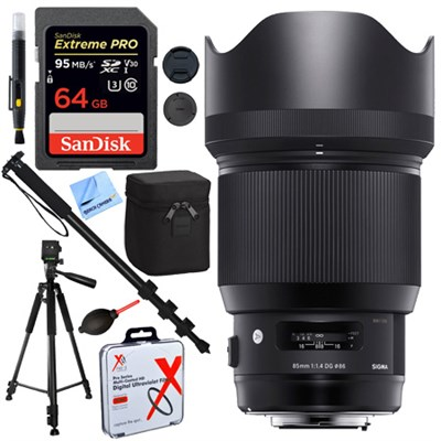 85mm F1.4 DG HSM Art Full-Frame Sensor Lens for Nikon + 64GB Kit