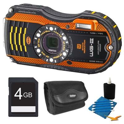 WG-3 Orange Digital Camera 4GB Bundle