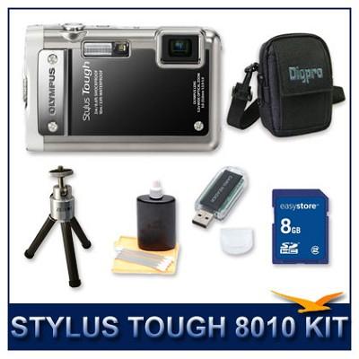 Stylus Tough 8010 Waterproof Shockproof Digital Camera (Black) w/ 16 GB Memory
