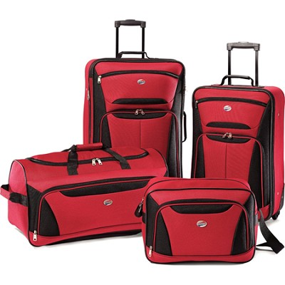 Fieldbrook II Four-Piece Luggage Set (Red/Black)