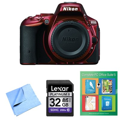 D5500 Red Digital SLR Camera, PC Office Suite 5 and 32GB Bundle