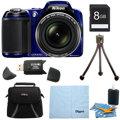 COOLPIX L810 16.1 MP 3.0-inch LCD Digital Camera 8GB Blue Bundle