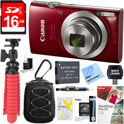PowerShot ELPH 180 8x Optical Zoom Digital Camera (Red) + 16GB Accessory Kit