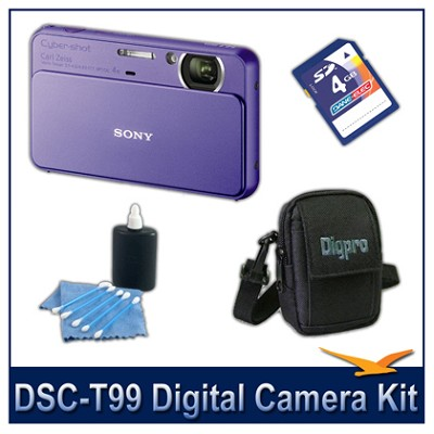 DSC-T99 14MP Violet Touchscreen Digital Camera with 4GB Card, Case,and more