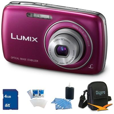 Lumix DMC-S3 14MP Compact Violet Digital Camera w/ 720p HD Video 4GB Bundle