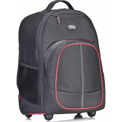 Compact Rolling Backpack for Laptops up to 16` - Black/Red