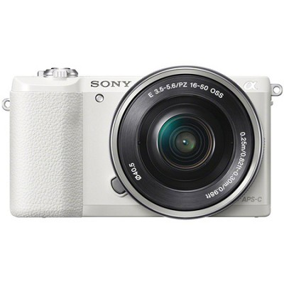 a5100 Mirrorless Camera w/ 16-50mm lens with Wifi- White - OPEN BOX