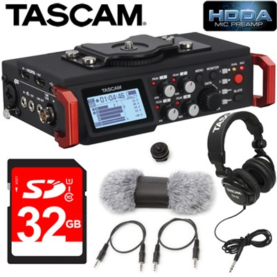 6-Track Field Recorder for DSLR with SMPTE Timecode (DR-701D) Accessories Kit