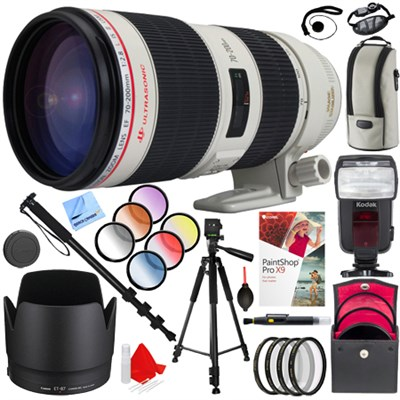 EF 70-200mm f/2.8L IS II USM Telephoto Zoom Lens EOS w/ Flash and Filters Kit
