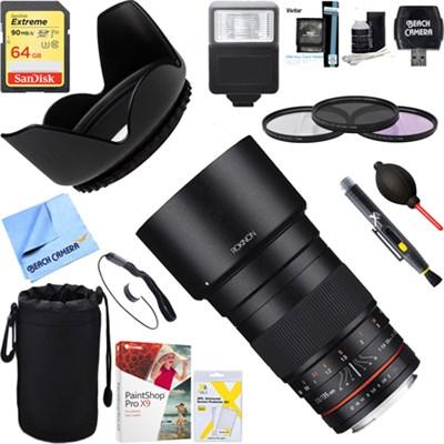 135mm F2.0 ED UMC Telephoto Lens for Canon DSLR + 64GB Ultimate Kit