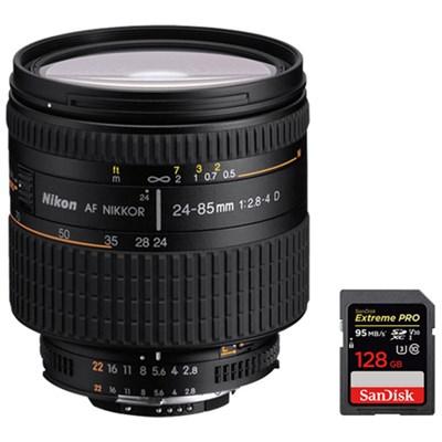 AF FX Full Frame NIKKOR 24-85mm f/2.8-4D IF Zoom Lens + 128GB Memory Card