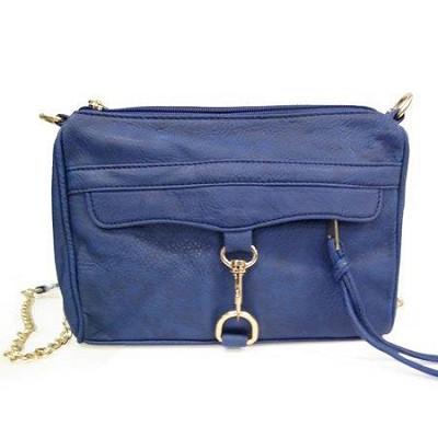 Crossbody PU Bag with Front Hook (Navy Blue) - 3005NBLU
