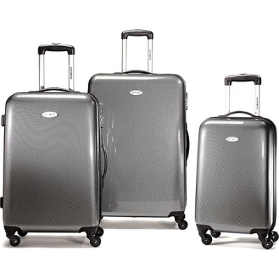 Winfield Fashion 3 Piece Nest Spinner Luggage - Black/Silver