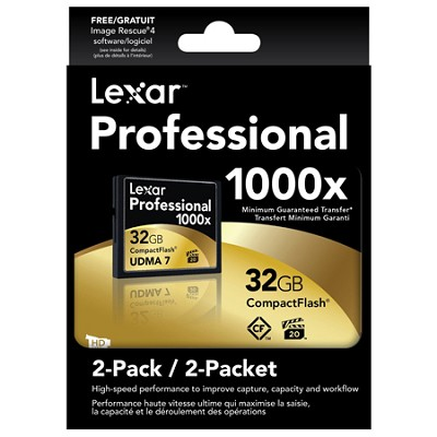 32 GB Professional 1000x Compact Flash (Thin Box) 2-Packs (LCF32GCTBNA10002)