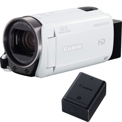 VIXIA HF R700 Full HD White Camcorder with Canon BP-718 Lithium-Ion Battery Pack