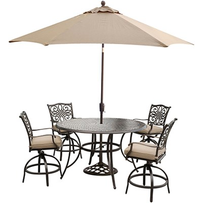 Traditions 5PC High Dining:4 Swvl Bar Chrs 56  Round Bar Tbl UmbStand