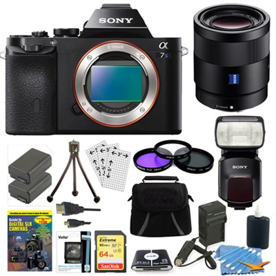 ILCE-7S/B a7S Full Frame Camera, 55mm Lens, 64GB Card, 2 Batteries, Flash Bundle