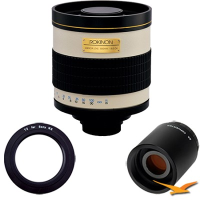 800mm F8.0 Mirror Lens for Sony E-Mount (NEX) and 2x Multiplier (White) 800M