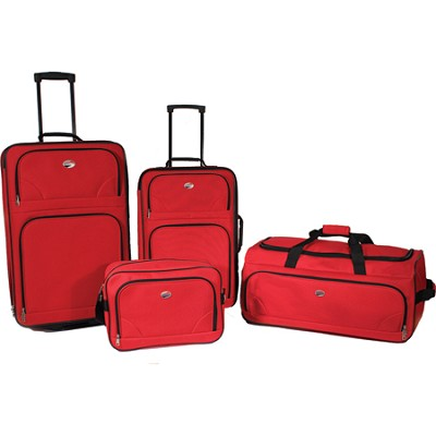 4 Piece Deluxe Lightweight Luggage Set (Red)