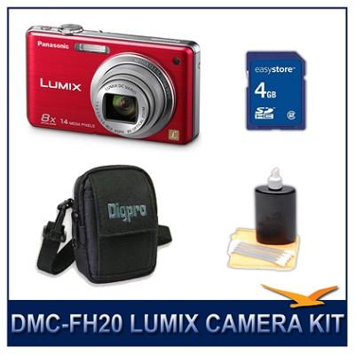 DMC-FH20R LUMIX 14.1 MP Digital Camera (Red), 4GB SD Card, and Camera Case