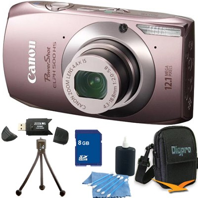 PowerShot ELPH 500 HS Pink Digital Camera 8GB Bundle