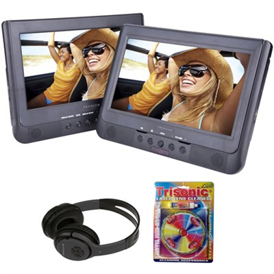 10.1` Dual Screen Portable DVD Player with Bluetooth Headphones Bundle