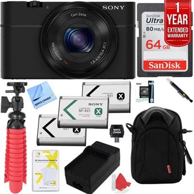 Cyber-Shot DSC-RX100 Digital Camera with 64GB Extended Warranty Kit