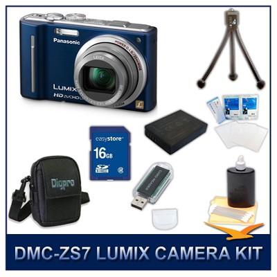 DMC-ZS7A LUMIX 12.1 MP Digital Camera (Blue), 16GB SD Card, and Camera Case